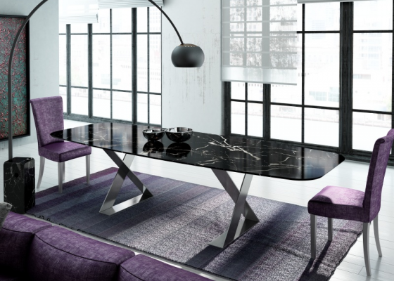 Dining table with marble top. Mod. NERO