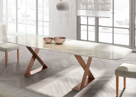 Dining table with marble top. Mod. BIANCA