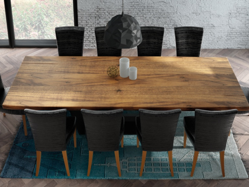 Fix dining table with ash wood top. Mod. BERN