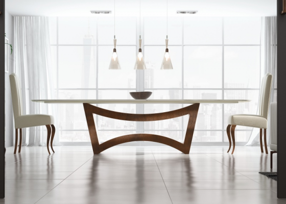 Dining table with marble top. Mod. ELIE