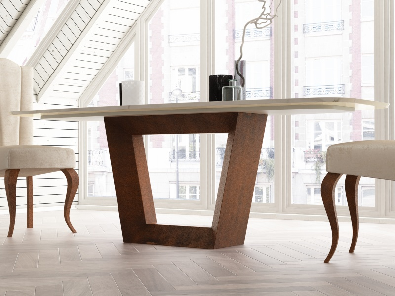 Dining table with marble top. Mod. CINNIA