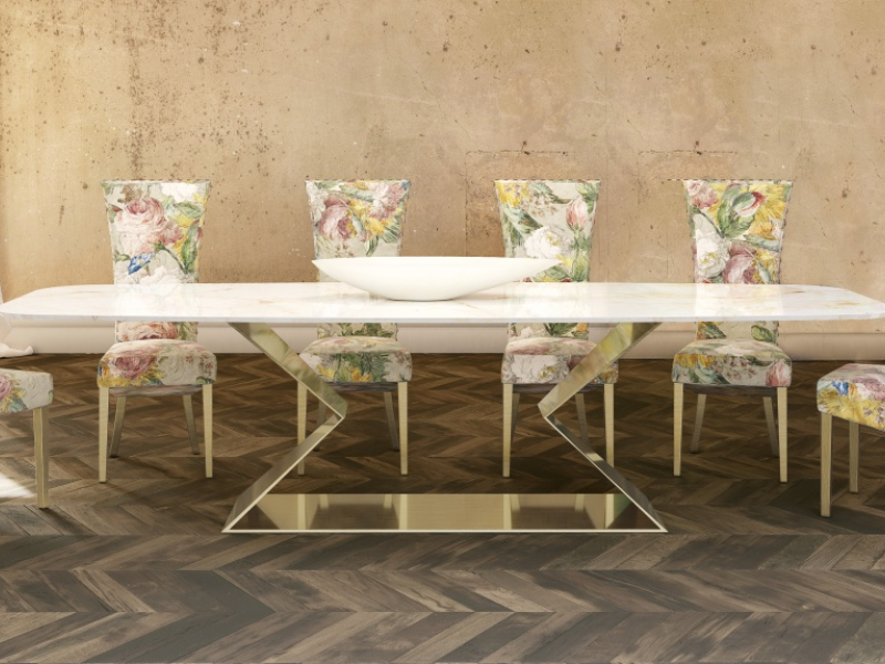 Dining table with marble top. Mod. VARENNA