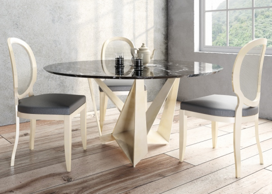 Round and fixed dining table with marble top. Mod: DIMA