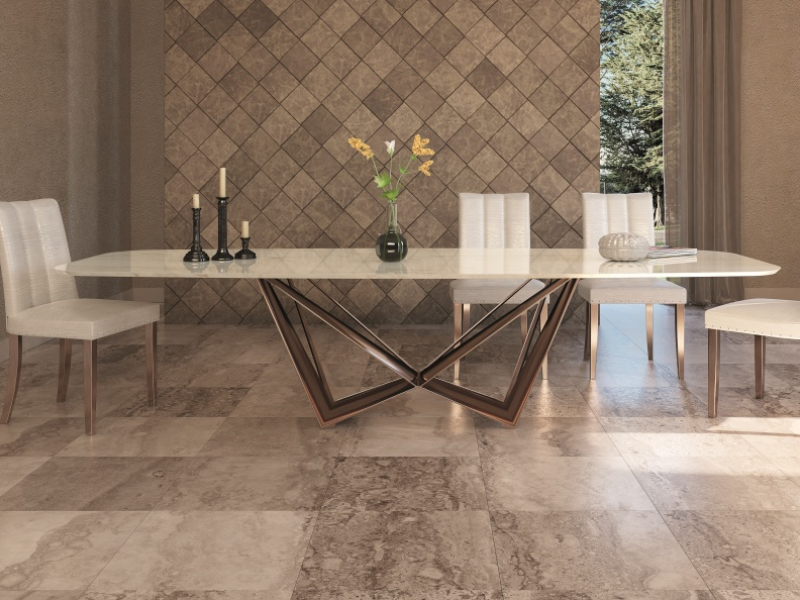 Dining table with marble top. Mod. MONTONE