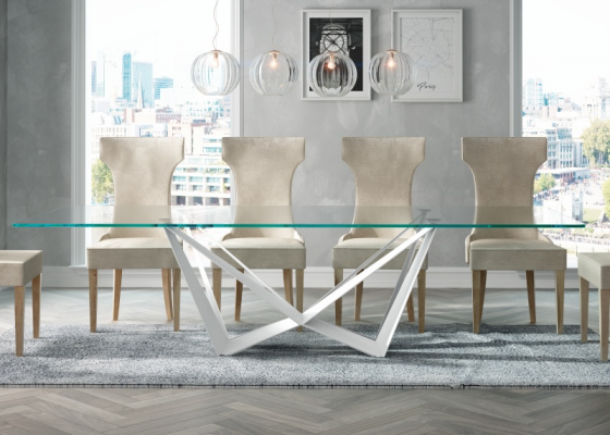 Fix dining table with tempered glass top. Mod. VERNAZZA BIANCO