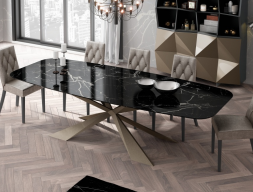 Dining table with marble top. Mod. KENIA