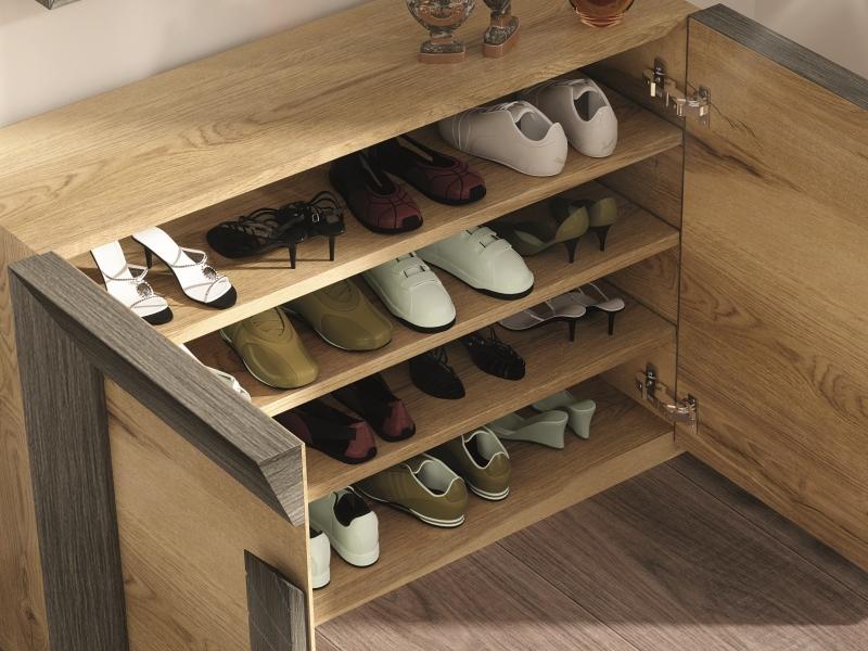 Oak shoe rack. Mod. DUNE