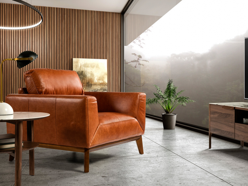 Leather armchair. Mod. ADELE-1P