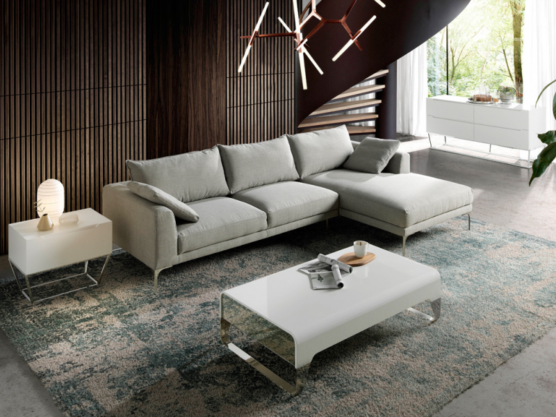 Upholstred sofa with chaise longue. Mod. ZOE-CL-R