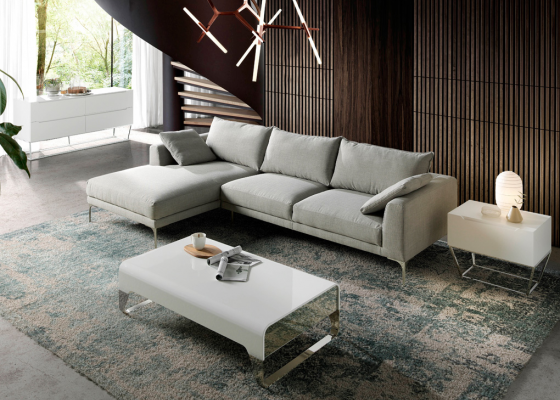 Upholstred sofa with chaise longue. Mod. ZOE-CL-L