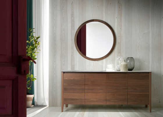 Sideboard with white marbled ceramic top. Mod. VALENTINO