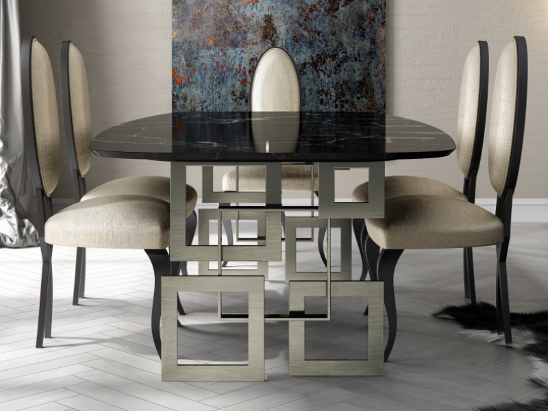 Dining table with marble top. Mod. CAMOLI