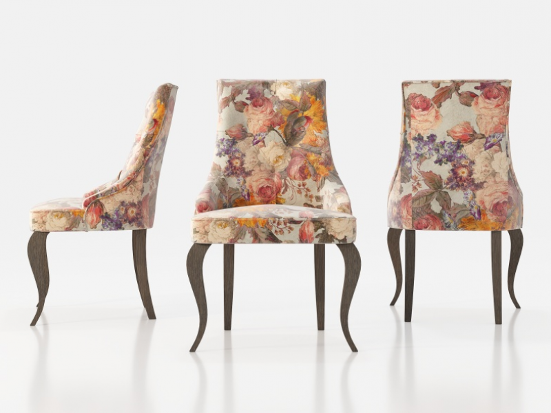 Set of  2 upholstered chairs with buttons and chippendale legs. Mod. ATHENAS
