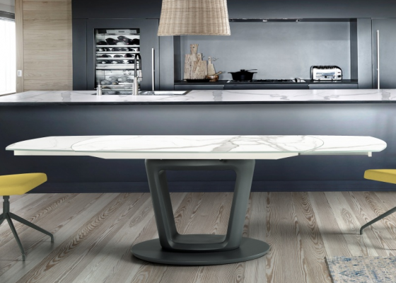 Extendable dining table with ceramic top . Mod. CERAMIC AGNES