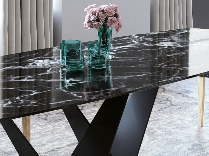 Dining table with marble top. Mod. DODOMA