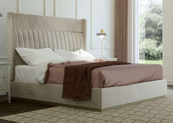 Complete bed upholstered in velvet with upholstered bed frame. Mod. ALYA VELVET