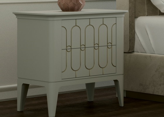 Set of 2 lacquered bedside table with two drawers. Mod. ALYA