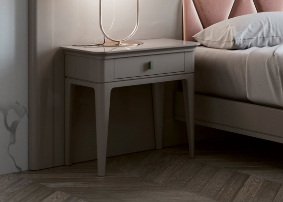 Set of 2 lacquered bedside table with one drawer. Mod. ANOUK