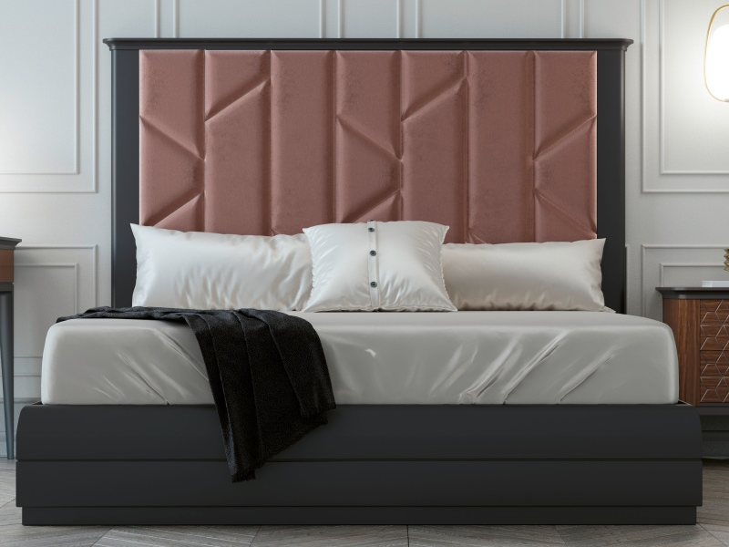 Complete bed with large lacquered headboard with upholstered central part. Mod. COLETTE