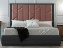 Complete bed with large lacquered headboard with upholstered central part. Mod. REEM