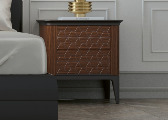 Set of 2 lacquered bedside table with two drawers. Mod. REEM