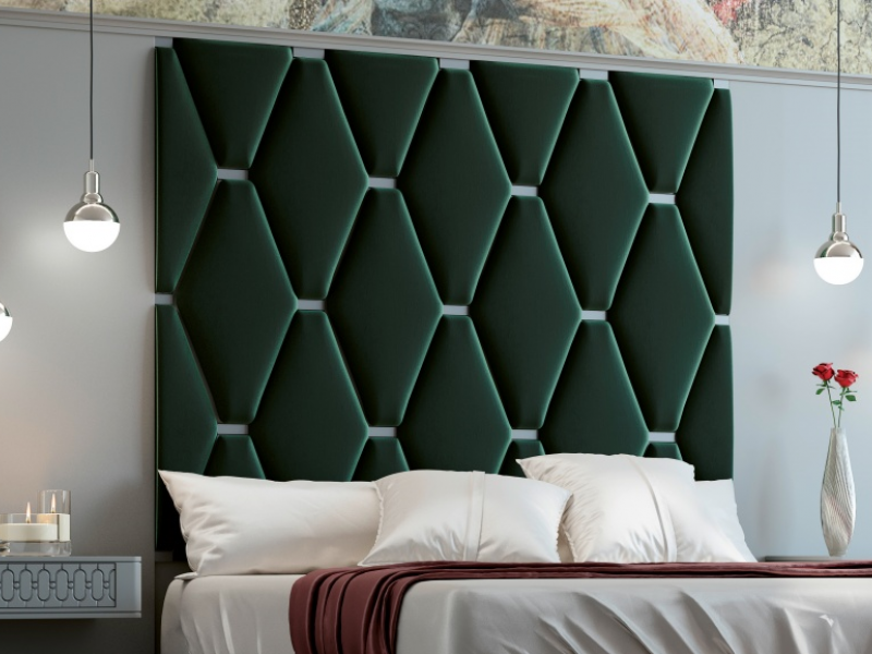 Complete bed with large lacquered headboard with upholstered central part. Mod. JALA