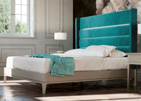 Complete bed upholstered in velvet with lacquered bed frame. Mod. BLANCHE