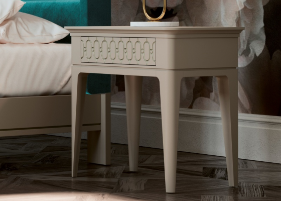 Set of 2 lacquered bedside table with one drawer. Mod. BLANCHE