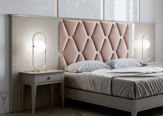 Large lacquered headboard with upholstered central part. Mod. ANOUK