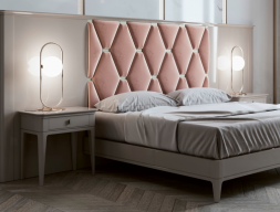 Complete bed with large lacquered headboard with upholstered central part. Mod. ANOUK