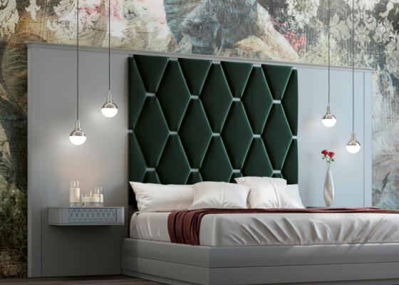High lacquered headboard with upholstered central part. Mod. JALA