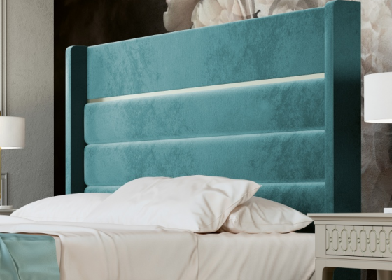 Upholstered headboard with lacquered detail. Mod. BLANCHE