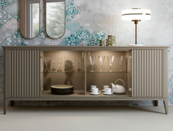 4-door lacquered sideboard with led light inside. Mod. MAISA