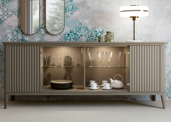 4-door lacquered sideboard with led light inside. Mod. CALVI