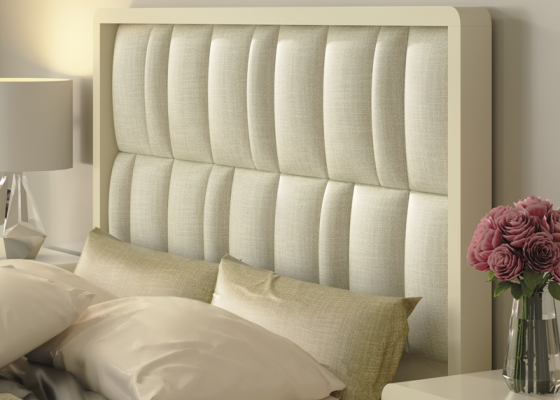 Lacquered headboard with upholstered central part. Mod. GLASS