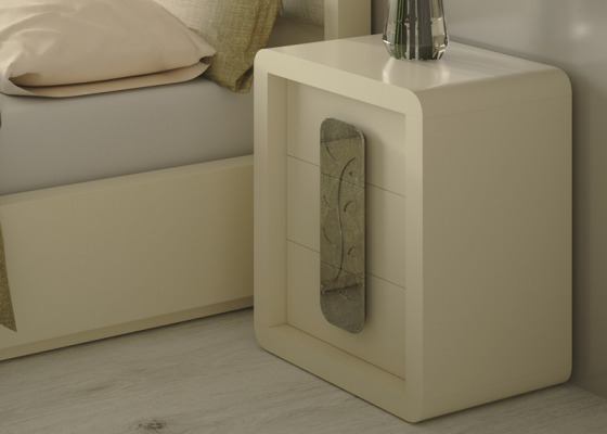 3-drawer lacquered bedside tables. Mod. GLASS