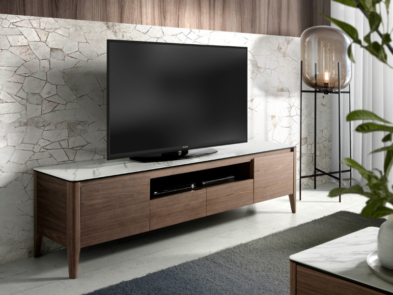 TV stand with white ceramic marbled top. Mod. VALENTINO/TV