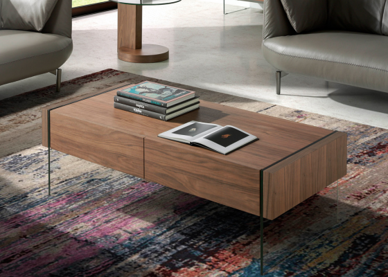 2-drawer low coffe table with 2 drawers. Walnut veneered. Mod. MARCO CENTRO