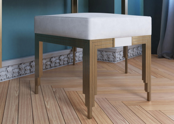 Upholstered design bench. Mod. GIULIO
