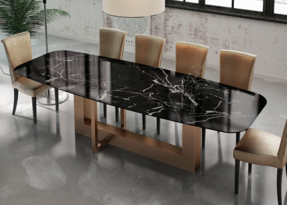 Dining table with marble top. Mod. OSTENDE MARBLE