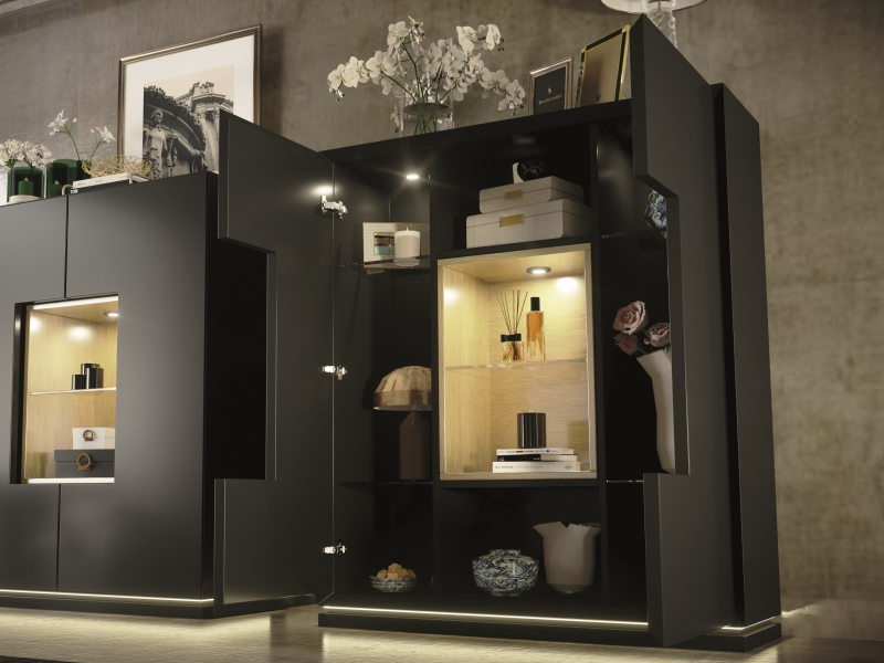 Lacquered showcase with 2 doors Mod: DAMA