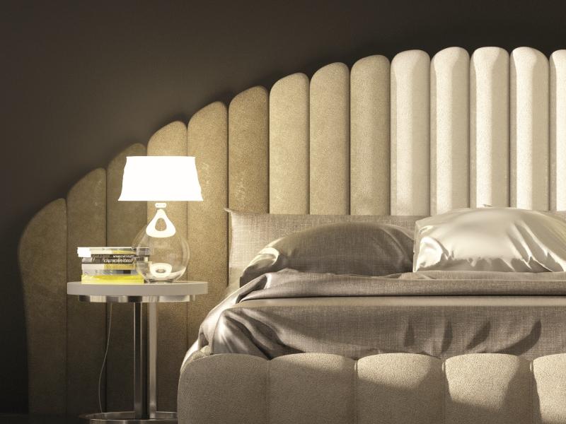 Upholstered complete bed. Mod. BADRA