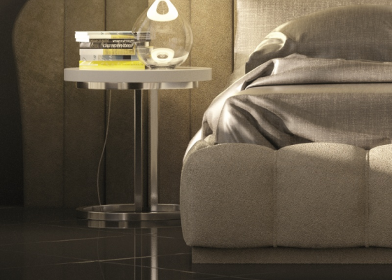 Design and round  bedside tables with metallic base. Mod. BADRA