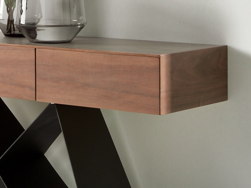 Console with ceramic top and steel lacquered base. Mod.  MOON