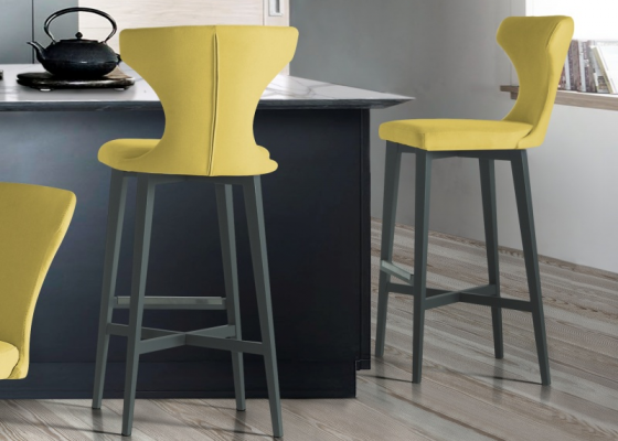 Set of 2 upholstered and lacquered stools. Mod. HELENNA