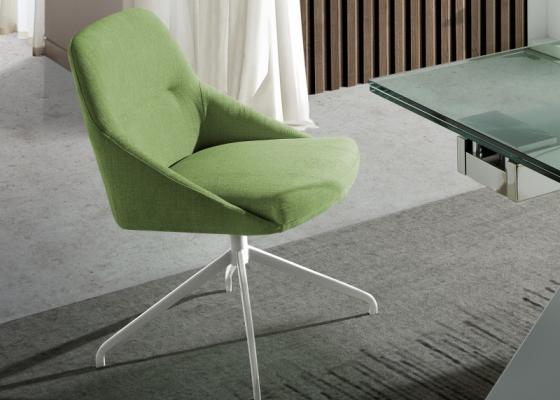 Set of 2 upholstered swivel chairs. Mod. CARMEN