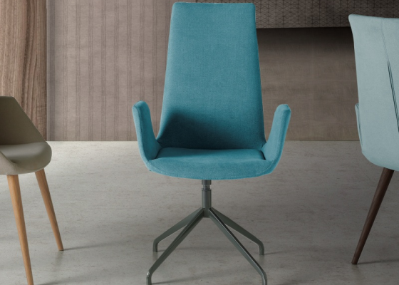 Set of 2 upholstered swivel chairs. Mod DANNA
