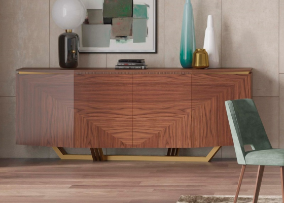 4-door walnut sideboard with stainless steel. Mod. GAIA