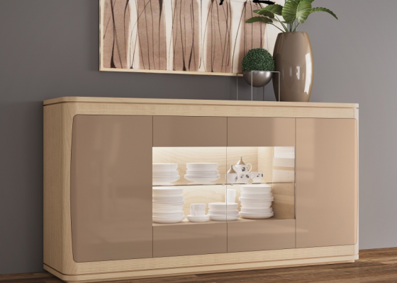 4-door lacquered sideboard with wood baseboard. Mod. GUISEPPE