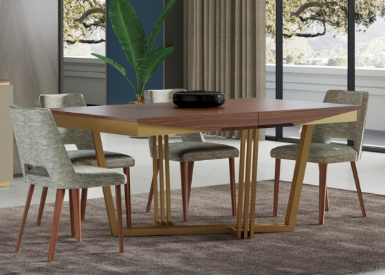 Extendable dining table with stainless steel base. Mod. GAIA EXT